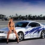 Sexy Babe in Bikini next to a Mustang