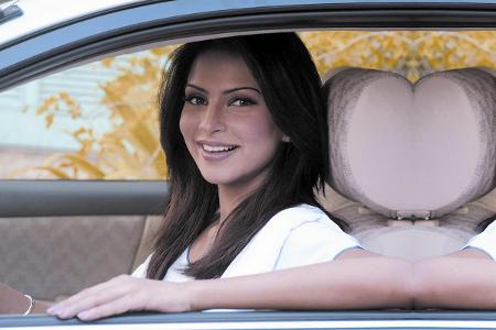 Wife inside a car