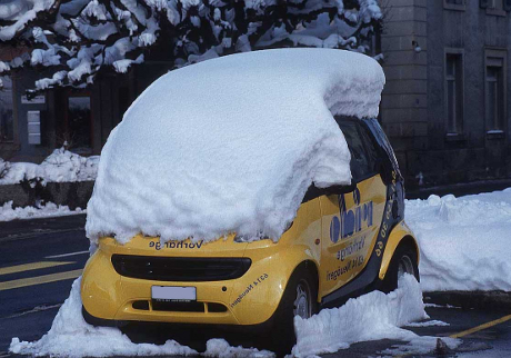 Smart covered with snow