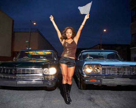 Sexy Women Startting a Street Car Race